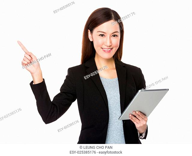 Businesswoman hold with tablet and finger point up