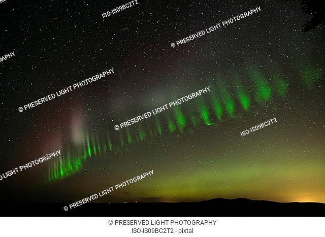 Northern lights in sky, Nickel Plate Provincial Park, Penticon, British Columbia, Canada