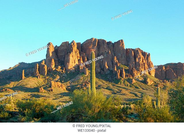 A view of the Superstiton Mountains in Lost Dutchman State Park in Apache Junction Arizona