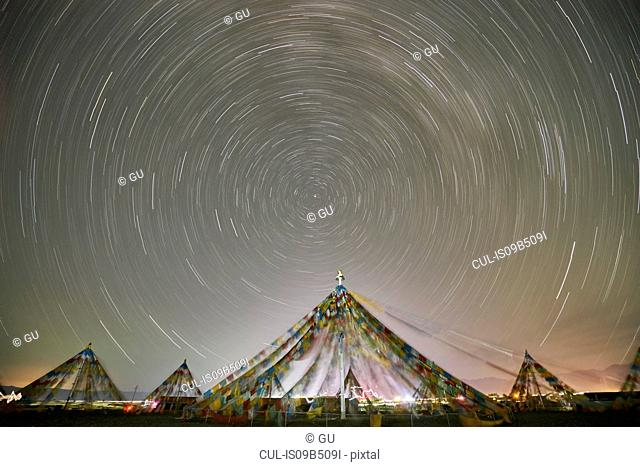 Stars motion, Chaka Salt Lake, Haixi, Qinghai Province, China