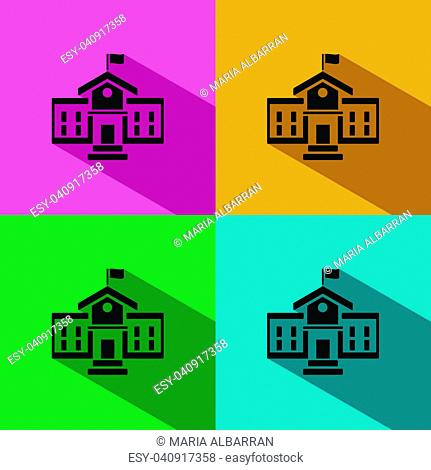 School building icon with shadow on colored backgrounds
