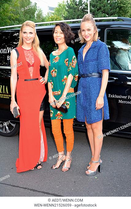 Tanja Buelter in Sly, Shirley Zhao, Esther Seibt at Grazia preview show at Erika-Hess-Eisstadion during Mercedes-Benz Fashion Week Spring/Summer 2015