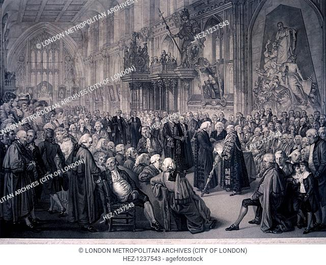 Inaugaration of Lord Mayor Nathaniel Newnham, London, 1801. Scene showing Nathaniel Newnham taking the Mayoralty Oath in the Guildhall, November 8 1782