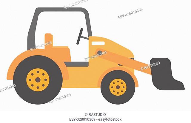 Large yellow bulldozer vector flat design illustration isolated on white background