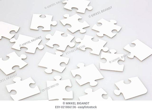 Randomly Placed Jigsaw Puzzle Pieces
