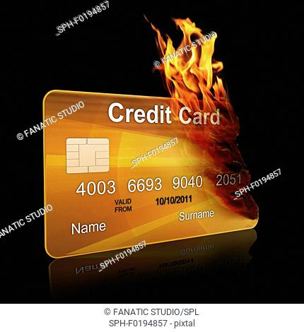 Gold credit card burning, illustration