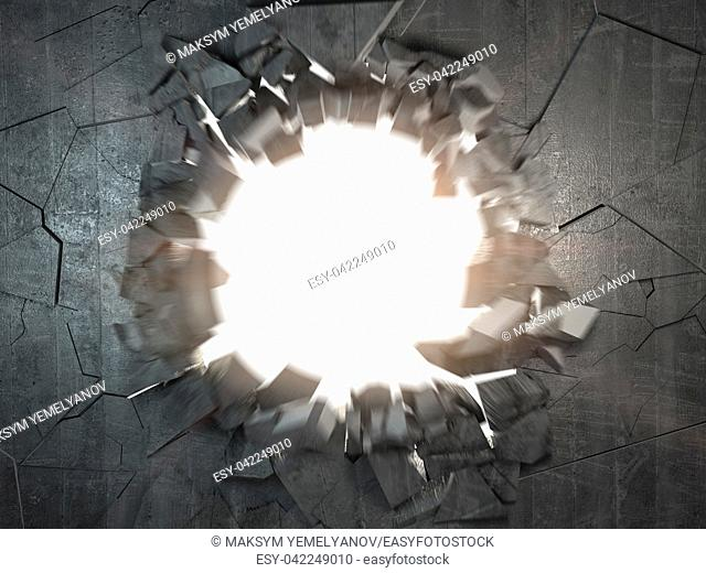 Cracked broken concrete wall with explosion hole and debris. Abstract grunge background. 3d illustration