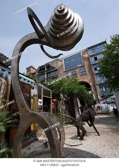 Modern art sculptures at bohemian Tacheles Kunsthaus in Scheunenviertel in Berlin Germany