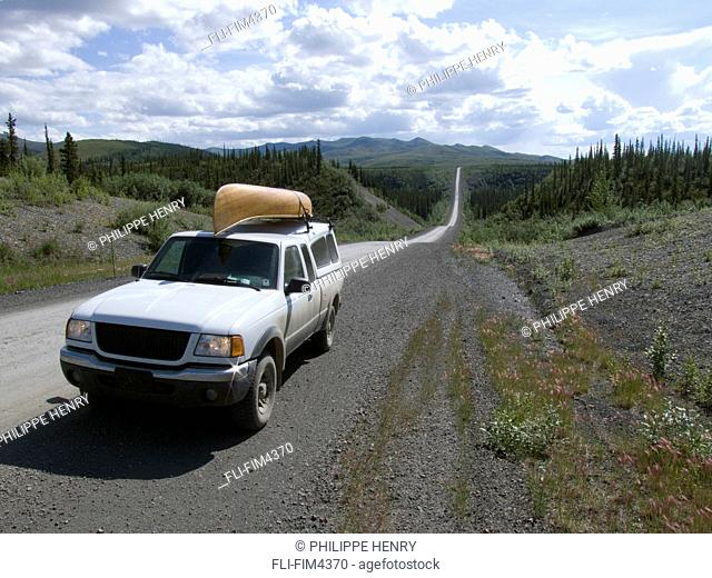 Pickup Truck with a Canoe on the Roof, Dempster Road, Yukon