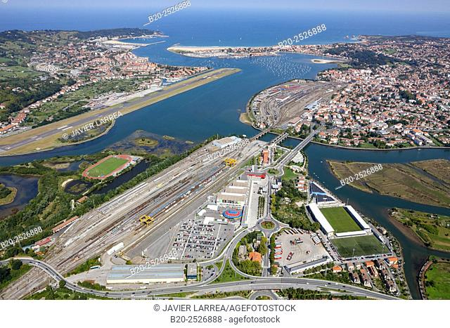 Aerial view. Bidasoa river mouth, Txingudi Bay. Irun and Hondarribia (Spain) and Hendaye (France). Europe