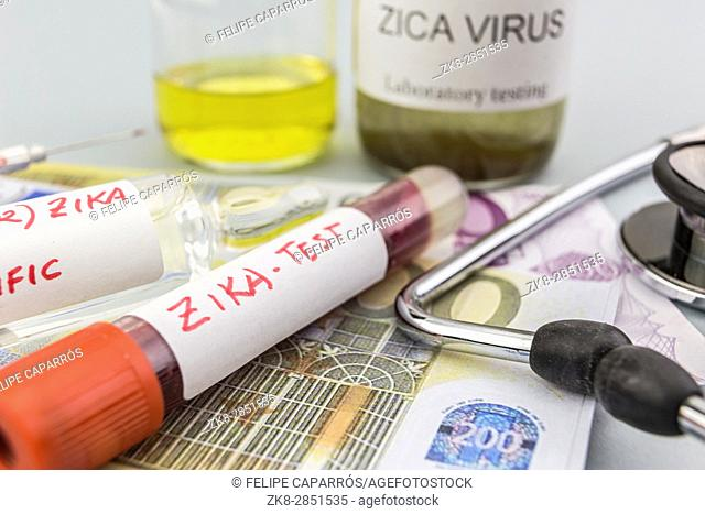 Tests for Research of ZIKA test and vials on tickets of euro, concept of pharmaceutical copayment