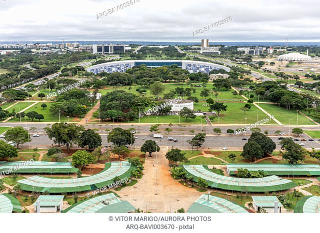 Aerial view from TV Tower to buildings in city of Brasilia, Brazil