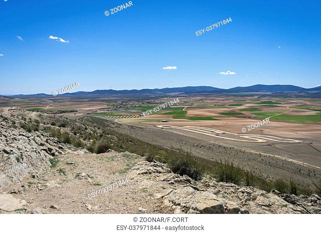 view from the medieval castle of Consuegra in the province of Toledo, Spain