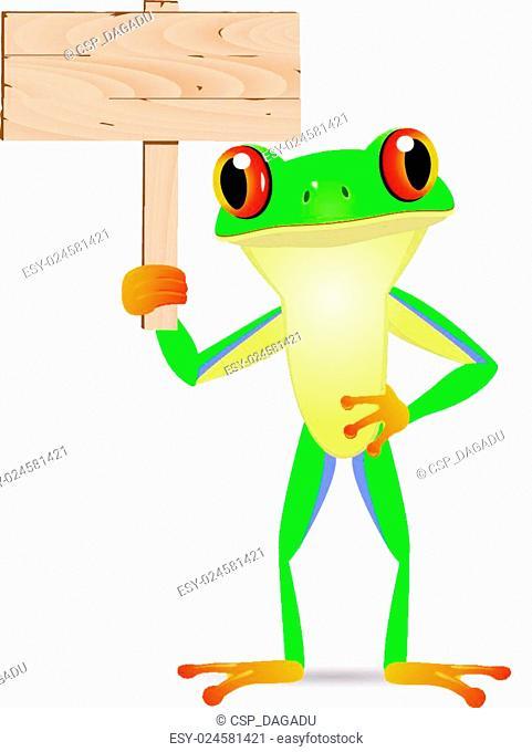 Frog with blank signboard