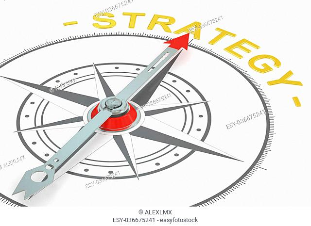 Strategy compass concept, 3D rendering