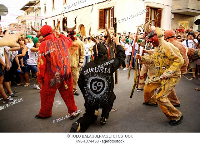Devils during the festival of Sant Joan Sant Joan degollat Mallorca Illes Balears Es Pla Spain