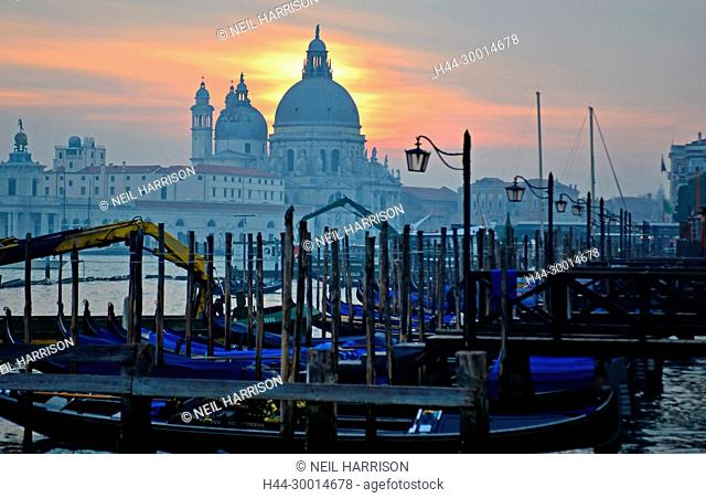 Sunset over the Basilica of Santa Maria della Salute, by the Venice Lagoon, Italy