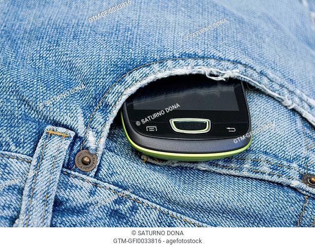 Smartphone in jeans pocket