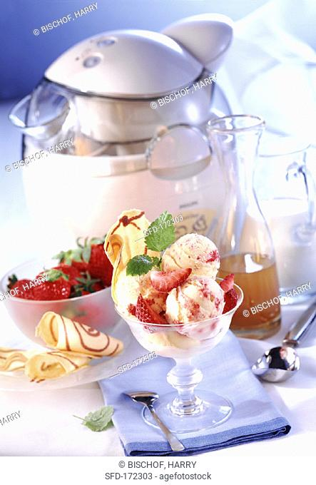 Elderflower syrup and strawberry ice cream