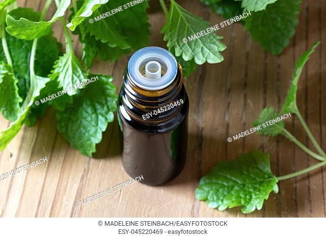 A bottle of essential oil with fresh melissa leaves