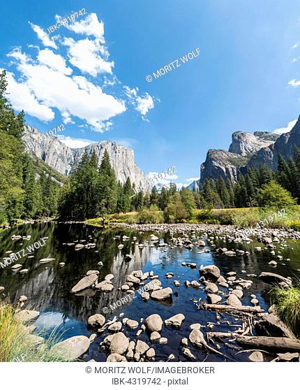 Valley view overlooking the El Capitan with River Merced River, Yosemite National Park, California, USA