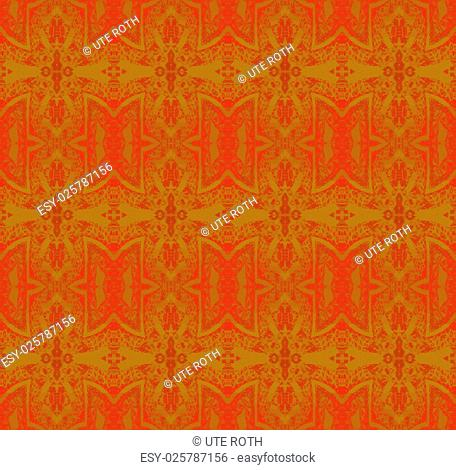 Abstract geometric background, seamless ornate golden christmas stars pattern on red, delicate and elegant