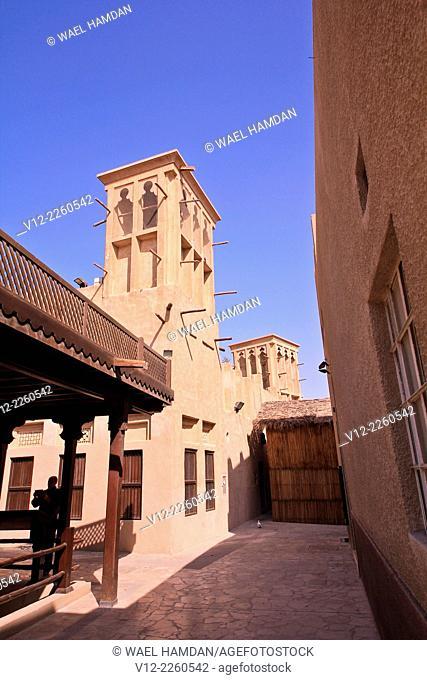 Bur Dubai, Dubai, United Arab Emirates Al Bastakiya District of historic Arabic houses and Dubai Old City Wall