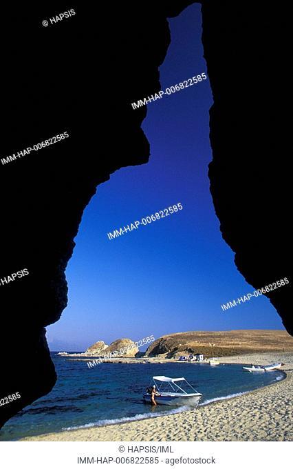 Drenia Island, beach, boat, Halkidiki, Macedonia Central, Greece