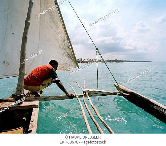 Sailing trip with traditional canoe, near Matemwe village, ahead the north eastern shore, Zanzibar, Tanzania, East Africa