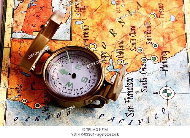 Compass, map, USA, Pacific Ocean, city, state, indicator, California, Brazil