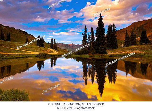 A pond on Paradise Divide at 11,500 feet, near Crested Butte, Colorado USA