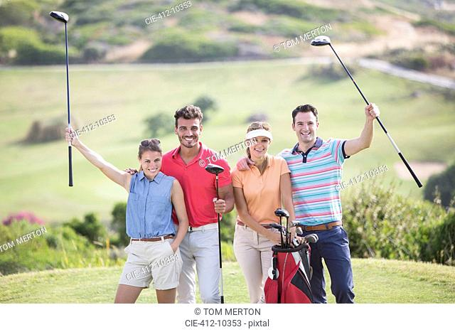 Friends on golf course