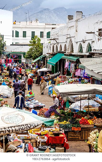 A Street Market In 'The Ensanche' District Of The City Of Tetouan, Morocco