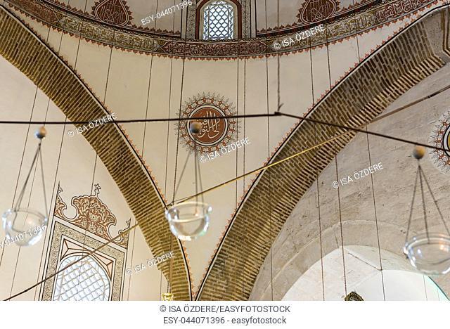 Interior detailed view of Mevlana museum in Konya,Turkey. 28 August 2017