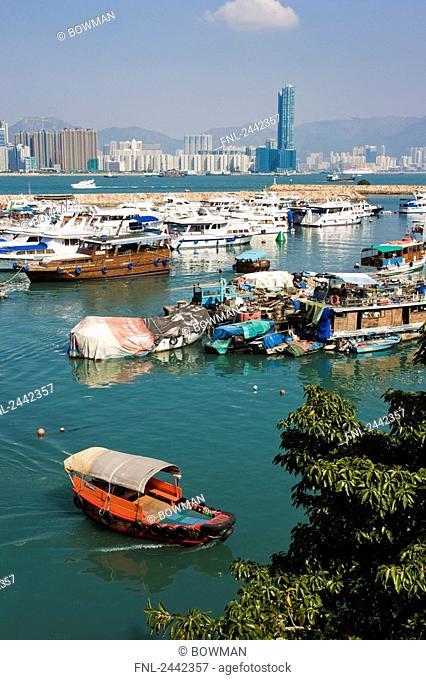 Boats at harbor, Tsim Sha Tsui, Kowloon Peninsula, Hong Kong, China