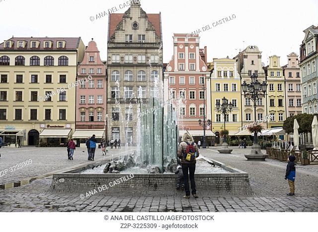 WROCLAW POLAND ON SEPTEMBER 26, 2018: Rynek (Market Square) Poland