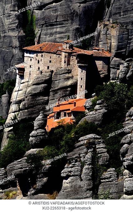 The Spectacular Meteora Mountains with monasteries, Plain of Thessaly, Greece, Europe