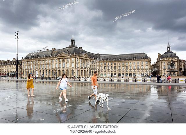 Water mirror fountain in the Place de la Bourse, Bordeaux, France
