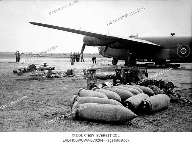 Bombs lie on an Allied airfield ready to be loaded into Royal Air Force Liberators. The British bombers of the Mediterranian Allied Air Forces worked with...