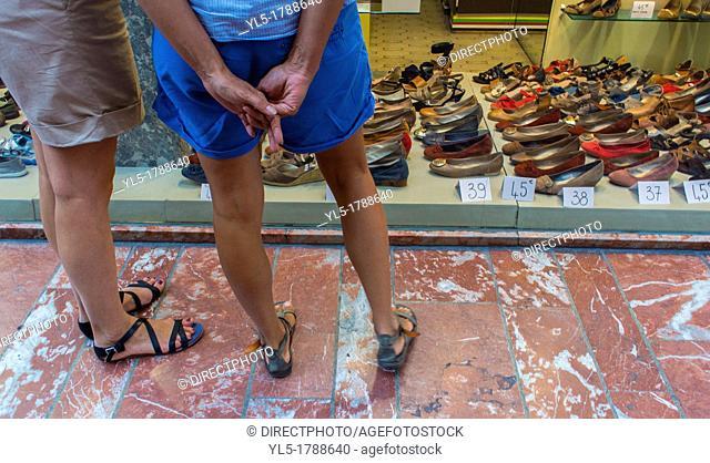 Perpignan, France, Women Window Shopping, Women's Shoes Shop