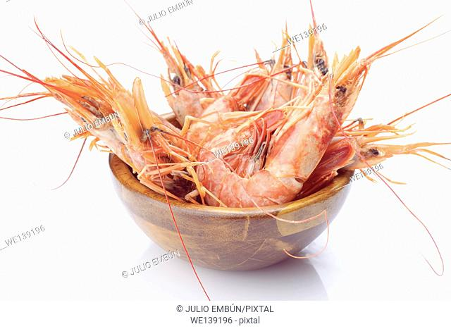 raw prawns isolated in white