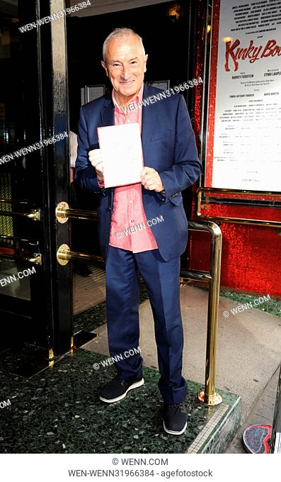 Kinky Boots press night for a new cast member at the Aldephi Theatre in London - Arrivals Featuring: Jim Rosenthal Where: London