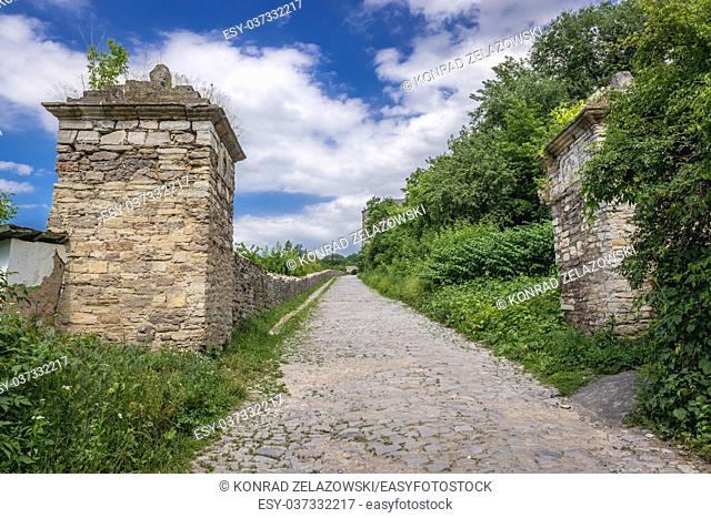 Remains of former city walls and gate on the Old Town of Kamianets-Podilskyi city in Khmelnytskyi Oblast of western Ukraine