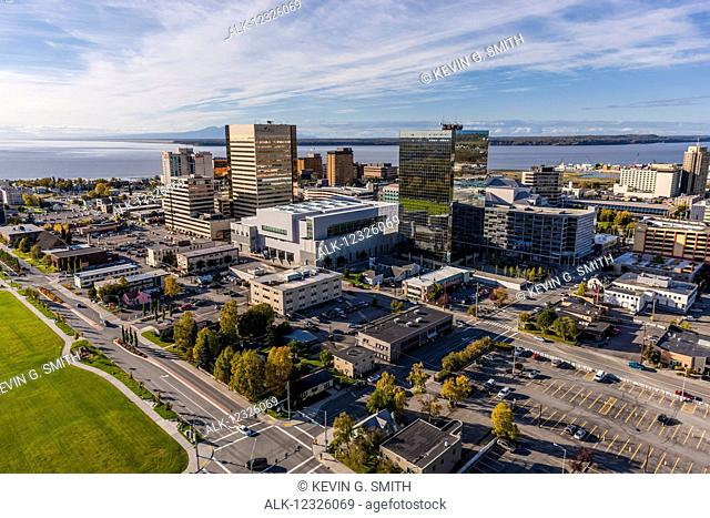 Aerial view of downtown Anchorage with Cook Inlet in the background, Southcentral Alaska, USA