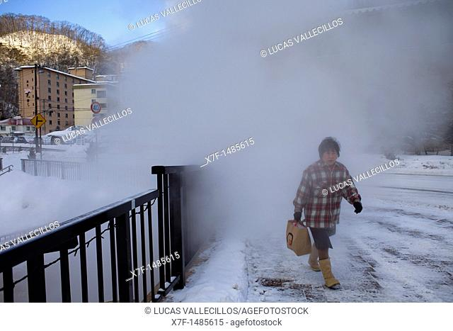 steam geyser in Sengen Park, Noboribetsu Onsen,Noboribetsu,Shikotsu-Toya National Park,Hokkaido,Japan