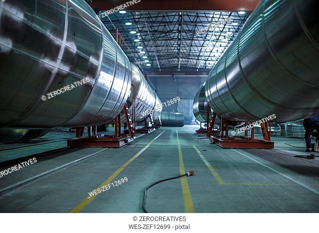 Large steel tanks in factory