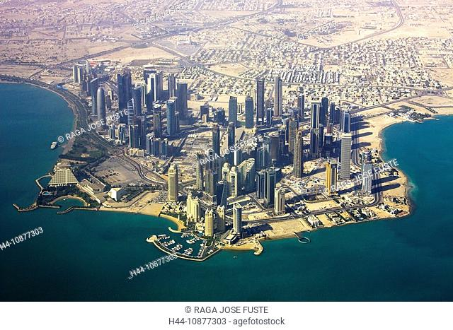 Qatar, architecture, block of flats, high-rise building, Doha, skyline, blocks of flats, high-rise buildings, buildings, constructions, sea, water