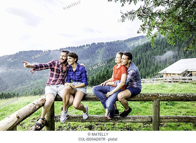 Four friends sitting on fence, Tyrol Austria