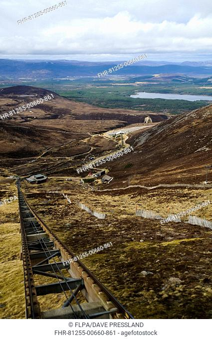View from funicular railway on snowless mountain, with Aviemore and Loch Morlich in distance, Cairn Gorm, Cairngorms N.P