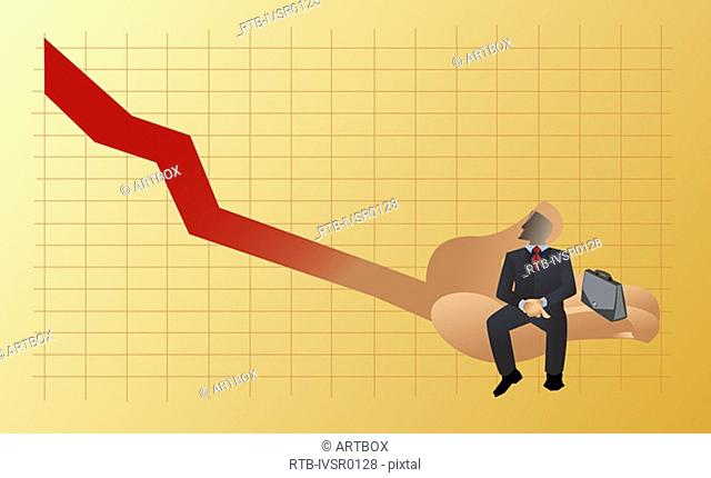Businessman sitting on a line graph